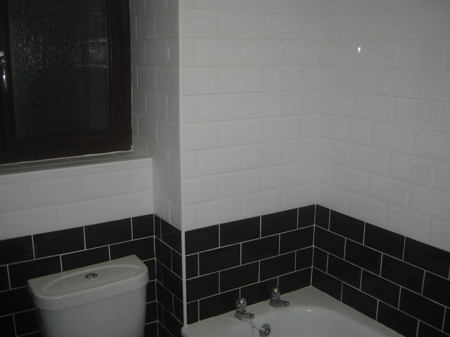 Bathroom Walls in Two-Tone Brick-Bond Setting